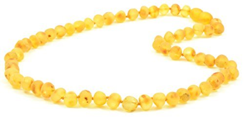 (Raw Amber Necklace for Adults - Lemon Color - 17.7 Inches - Baltic Amber Land - Hand-made From Unpolished / Certified Baltic Amber Beads - Knotted - Screw Clasp (Lemon))