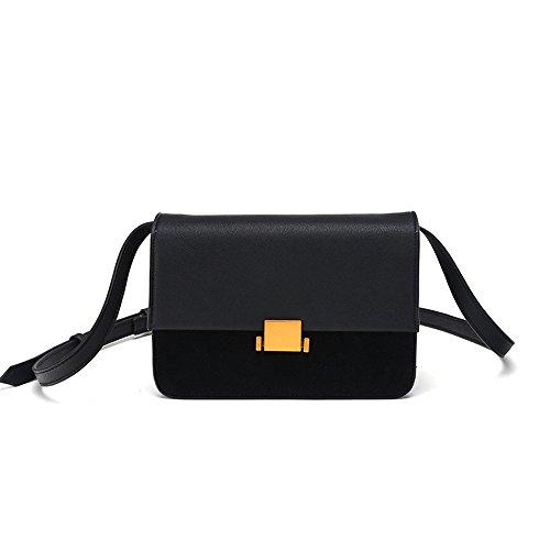 Simple Retro Magnetic Matte Hit Couleur Carré Sac à bandoulière PU Messenger Bag, Noir Loisirs