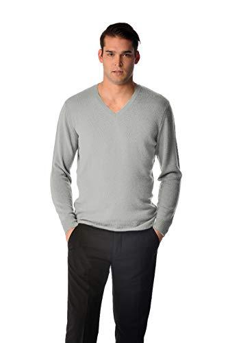 (Cashmere Boutique: 100% Pure Cashmere V-Neck Spring Sweater for Men (Color: Light Gray, Size: Large))