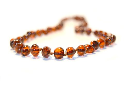 The Original Art of CureTM *SAFETY KNOTTED* Honey – Baltic Amber Baby Teething Necklace w/The Art of CureTM Jewelry Pouch, Baby & Kids Zone