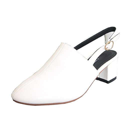 KPHY Zapatos de mujerBaotou Sandalias Mujeres Estudiantes Verano Salvaje Tacon Medio Trasera Correa Cómodo Casual white