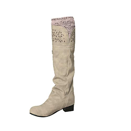 OrchidAmor Tube Women's Boots Flat-Bottomed Knight Boots Single Boots Hollow Boots Brown