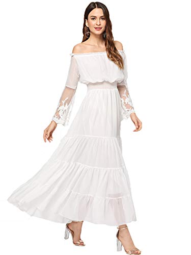 Milumia Women's Off Shoulder Lace Contrast Ruffle Mesh Sleeve Shirred High Waist Maxi Dress White -