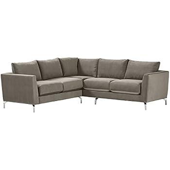 """Rivet Emerly Modern Velvet Metal Leg Sectional Sofa, 96""""W, Pewter"""