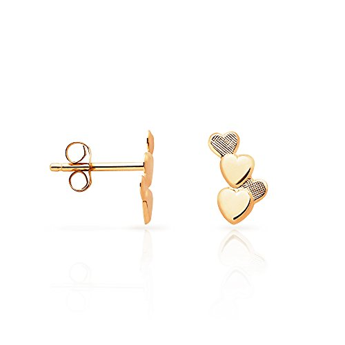 Simple Solid Trickling Hearts Stud Earrings in 14K Yellow Gold (14k Solid Gold Heart Ring)