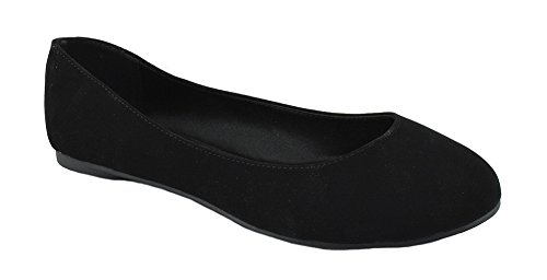 Soda Comfortable Basic Shoes Women Ballet Flat Round Toe Gel Insole (Womens Black Suede Flats)