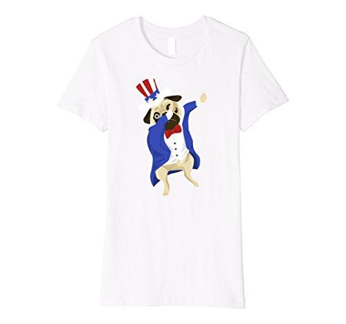 Womens Dabbing USA Uncle Sam Pug Dog Funny American Flag Tshirt Small White