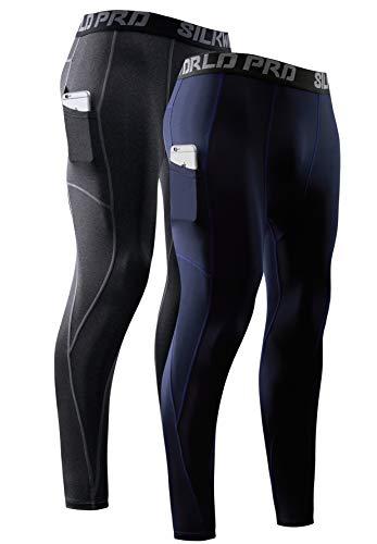 SILKWORLD Men's Compression Pants Pockets Cool Dry Running Leggings Athletic Tight Baselayer