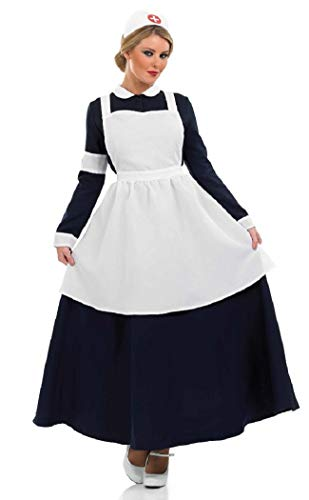 Ladies WW1 WW2 Old Victorian Nurse Florence Nightingale Fancy Dress Costume Outfit UK 8-26 Plus Size (UK ()