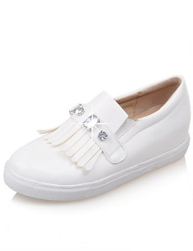 ZQ Zapatos de mujer - Tacón Plano - Punta Redonda - Mocasines - Exterior / Casual / Vestido - Cuero Patentado - Negro / Rosa / Blanco , pink-us10.5 / eu42 / uk8.5 / cn43 , pink-us10.5 / eu42 / uk8.5 / white-us9.5-10 / eu41 / uk7.5-8 / cn42