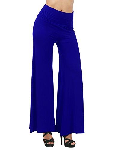 TWINTH Capri Pants Plus Size Long Leg Wide Pants Chic ROYALBLUE M