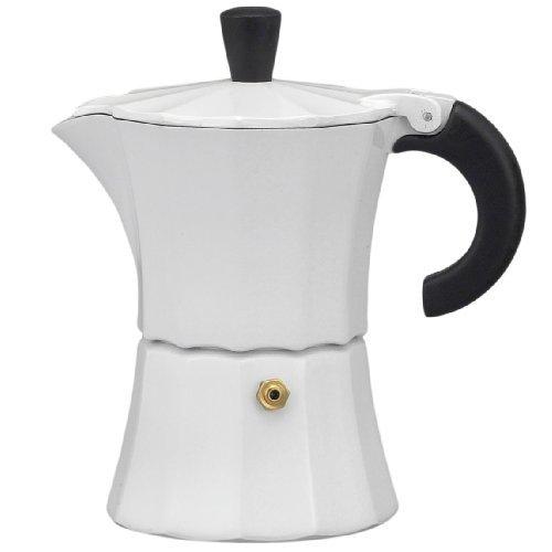 Gnali & Zani Aluminum 3 Cup Stovetop Espresso Maker, White