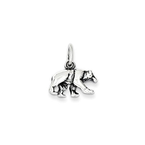 Mireval Sterling Silver Bear Charm (12 x 15mm) by Mireval