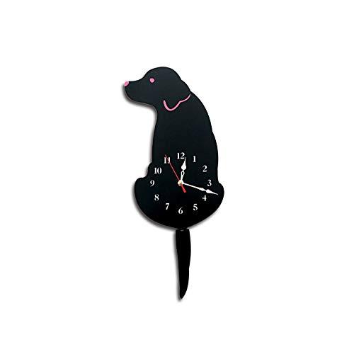 SGSG Stylish Modern DIY Wall Clock Acrylic Wag Tail Dog Home Creative Mute Personality Creative Fashion Atmosphere for Kitchen, Living Room, Bathroom, Bedroom, Office,Acrylic,Black