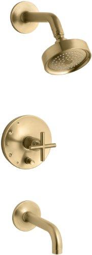 KOHLER K-T14421-3-BGD Purist Rite-Temp Pressure-Balancing Bath and Shower Faucet Trim with Push-Button Diverter, 7-3/4