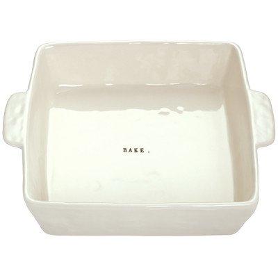 Rae Dunn Magenta Square Bake Word Baking Dish Pan Stoneware