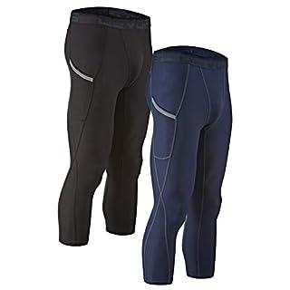 DEVOPS Men's 3/4 (2 Pack) Compression Cool Dry Tights Baselayer Running Active Leggings Pocket Pants (Large, Black/Navy)