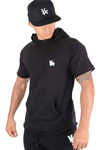YoungLA Pullover Short Sleeve Hooded Sweatshirt Raw Edge Pockets 504 Black Small