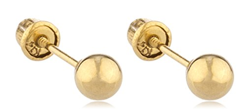 14k Gold Ball Earring Studs with Bolita Screw Back (yellow-gold, 4 Millimeters) (GO-723)