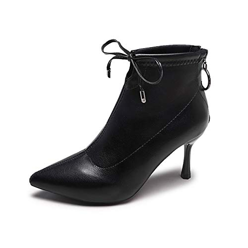 Black 6.5-7 US Black 6.5-7 US Women's Fashion Boots PU(Polyurethane) Winter Boots Stiletto Heel Pointed Toe Booties Ankle Boots Black Brown