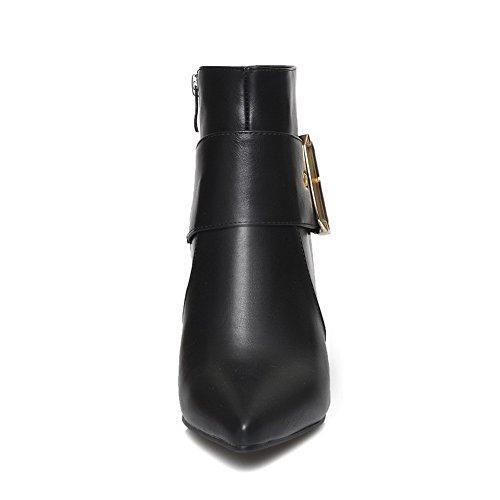 Amoonyfashion Mujeres Pu Blend Materials Acentuado Con Punta Cerrada Low-top Kitten-heels Botas Negro