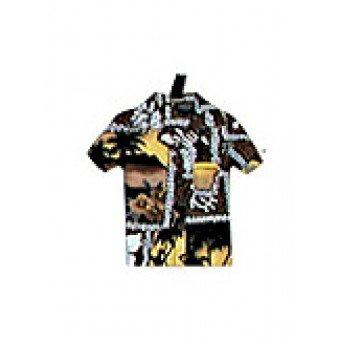 Luggage Tag - Aloha Print Brown (Hawaiian Shirt Luggage Tag)