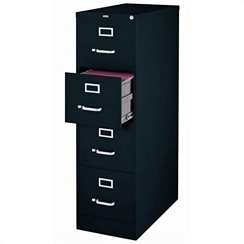 Pemberly Row 4 Drawer 25'' Deep Letter File Cabinet in Black, Fully Assembled by Pemberly Row