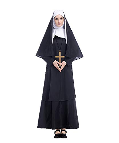 Women's Nun Costume with Big Cross Accessory(Medium)