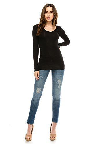 The Classic Women Basic Casual Slim Fit Soft & Stretch Lightweight V-Neck Long Sleeve Tops Tissue T-Shirt (Small, Black) (V-neck Stretch Tee Womens)