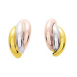 So Chic Bijoux © Boucles d'oreilles Femme Demi Créoles Tricolores 3 Anneaux Arrondis Larges Joints Or Jaune Blanc & Rose 750/000 (18 carats)