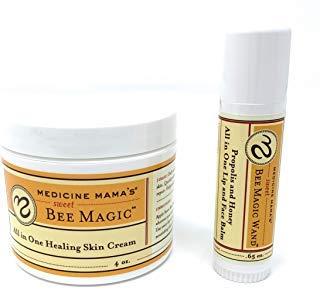 Medicine Mama's Sweet Bee Magic All in One Healing Skin Cream Jar 4oz and Travel Lip and Face Balm Wand .65oz ()