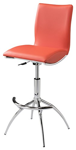 Creative Images International Minimalist Collection Height Adjustable Swivel Leatherette Bar Stool with Cushion and Gas Lift, Orange ()