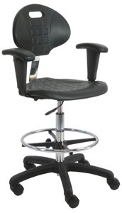 BenchPro LNT-UC-AA Deluxe Polyurethane Cleanroom Lab Chair/Workbench Stool with Footring and Adjustable Armrest, 300 lbs Capacity, 18.5
