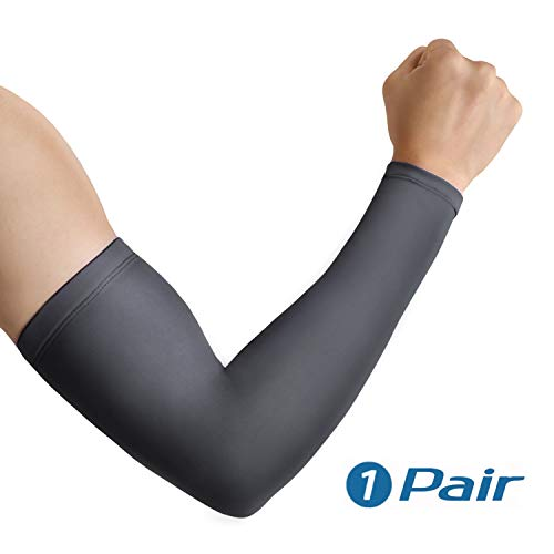Arm Sleeves, UV Protection Sleeves for Men Women - Cool Sleeves for Running Football Baseball Volleyball,Cycling By ACRoad (L, Grey)