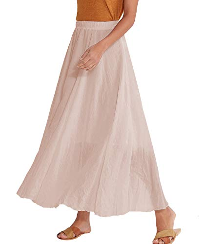 Amazhiyu Women Swing Skirt Mid Length Cotton Linen Flowing Skirt Elastic Waist Boho Style for Autumn Summer (33.4inches, ()