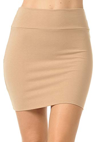 (Fashion Aktiv Basic Double-Layer Cotton Simple Stretchy Tube Pencil Mini Skirt (Small, Khaki))