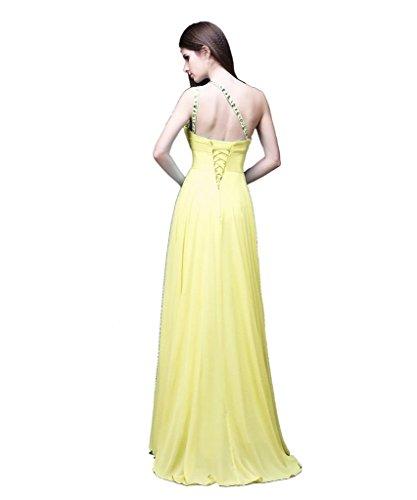 Kmformals Damen eine Schulter lange prom Kleider Gelb IPeNuAYI ...