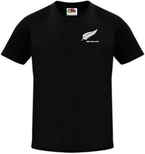Print Screen T-shirt Rugby - New Zealand Men's Rugby Football Soccer Cricket National Team T Shirt Jersey XX-Large Black