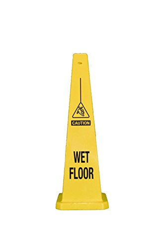 (Cortina Safety Products Group 03-600-08 36'' Yellow Traffic Floor Cone ''CAUTION WET FLOOR'' With Pictogram, English, 15.34 fl. oz., Plastic, 36