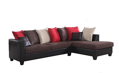 Price comparison product image RealOne 2 Piece Fabric and Faux Leather Sectional Sofa and Chaise, Chocolate Brown with Red Accent Pillows