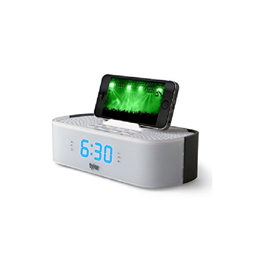 Tyler Bluetooth Alarm Clock Radio TAC501-WHT With Stereo Speaker, FM Radio, USB Charging, AUX Line-in, Blue LED Display , and Smart Phone Dock | White