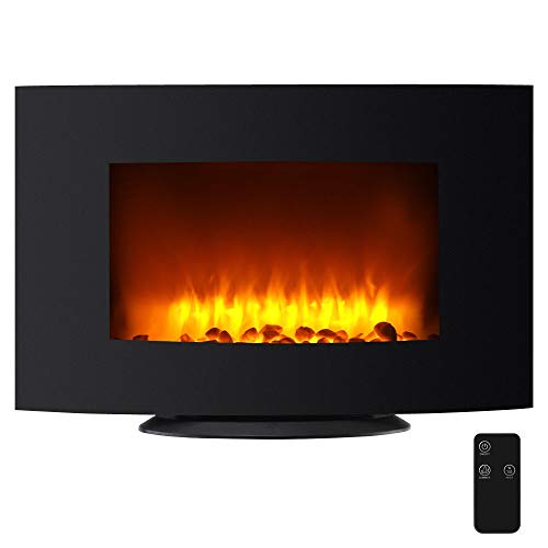 Cheap HTH Store 35 Inch Wall Mount Electric Fireplace Black Curved Panel Indoor Heating Heater New Decorative Primary Concern Great Black Friday & Cyber Monday 2019