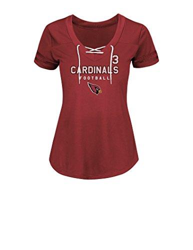 NFL Arizona Cardinals Carson Palmer 3 Women's Short Sleeve V-Neck Synthetic Lace Up Fashion Tops, Medium, Bright Garnet White