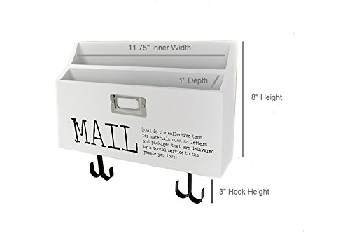 Blu Monaco Mail Organizer Wall Mount with Key Rack Hooks - Wood - Two Tier with Mail Print – for Office, Kitchen, Entryway by Blu Monaco (Image #3)