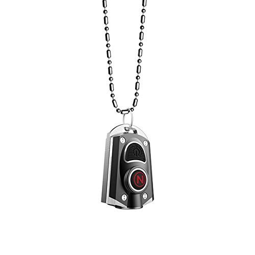 NEBO Mini Rechargeable Keychain Flashlight: Features 6 Unique Light Modes, Including 400 Lumen Turbo Mode and 3 LED Color Options; Easily Secured via Necklace, Lanyard or Keyring – MYCRO 6714 (Black