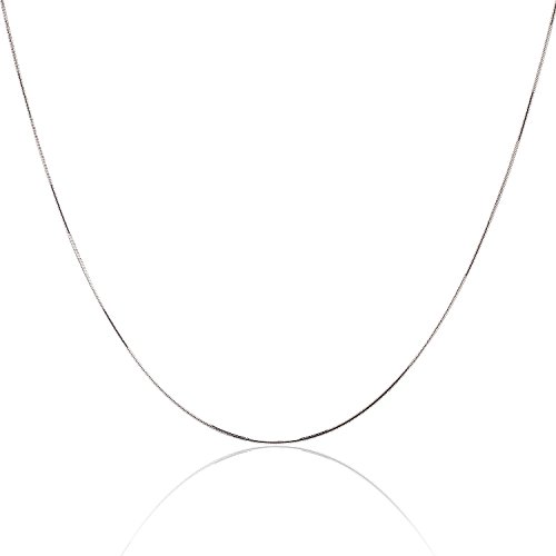 16 Inch Designer Chain - 925 Sterling Silver 1MM Magic 8 Sided Snake Chain - Italian Crafted Necklace For Women - Lobster Claw Clasp - 16 Inch