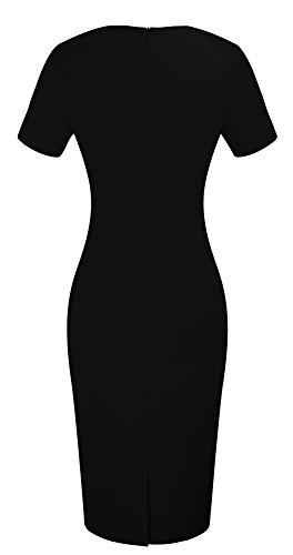 HOMEYEE Elegante rodilla cuello de manga corta Bodycon longitud de la rodilla para vestir B389 Negro