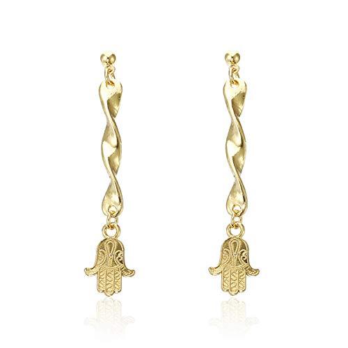 Gold-plated Crystal Scrub Spiral long earrings bell shape Drop Earrings Hook Dangle Earrings Fashion Women Party - Wedding Bell Dangle