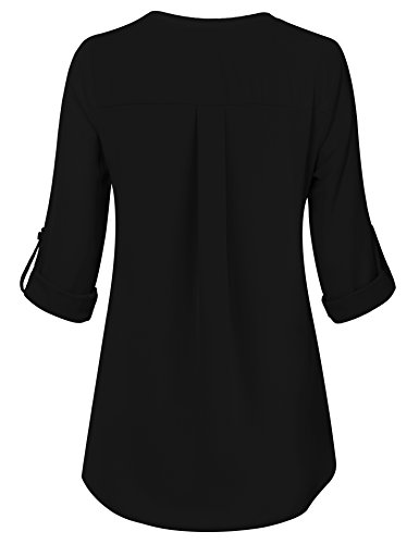 Casual Tunic Shirt,Business Casual Tops for Women Loft Clothing Pleated Front Swing Flowy Tops Prime Dressy Designer Fall Clothing Black,XL by Youtalia Direct (Image #1)