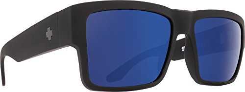 Spy Optic Men Cyrus Square, Soft Matte Black/Bronze with Light Blue Spectra, 58 mm